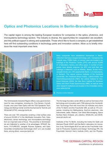 Optics and Photonics Locations in Berlin-Brandenburg