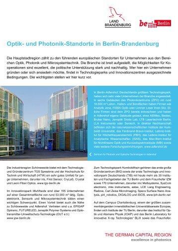 Optik- und Photonik-Standorte in Berlin-Brandenburg