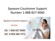 Spyware Coustomer Support Number 1-888-827-9060