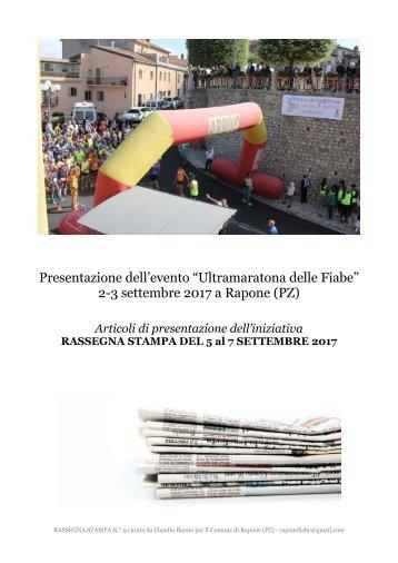 RASSEGNA STAMPA POST ULTRAMARATONA DELLE FIANE A RAPONE - DAL 5 AL 7 SETTEMBRE 2017