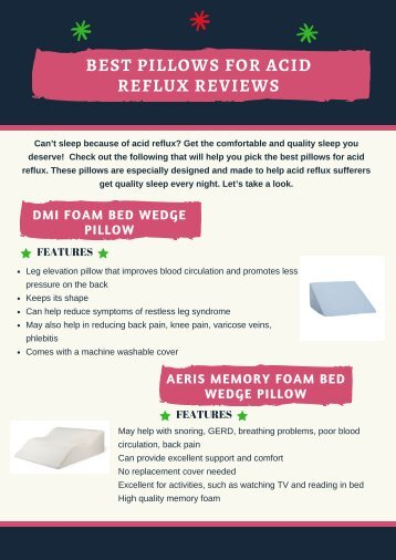 Best Pillows for Acid Reflux Reviews at Good Sleep Tonight