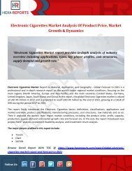 Electronic Cigarettes Market Analysis Of Product Price, Market Growth & Dynamics