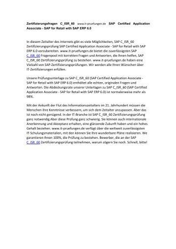 Zertifizierungsfragen C_ISR_60