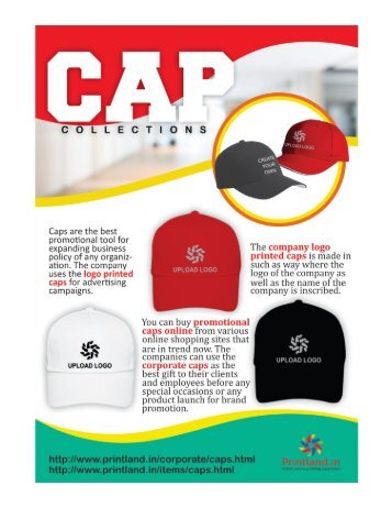 Buy Promotional or Corporate Caps with Company Custom Logo Printed Online in India