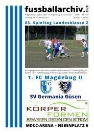 Programm 2017/18 LK 2 3. Spieltag 1. FC Magdeburg - SV Germania Güsen
