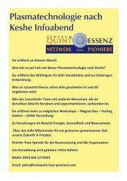 Plasmatechnologie nach Keshe Infoabende 4.Quartal 2017