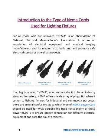Introduction to the Type of Nema Cords Used for Lighting Fixtures