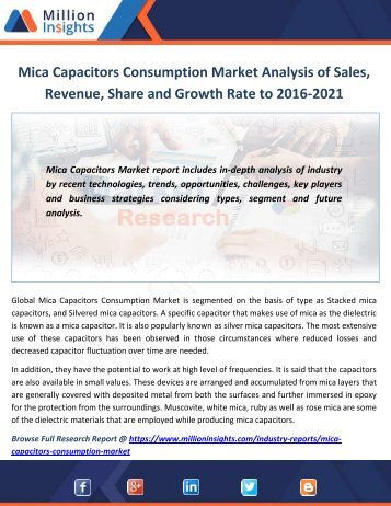 Mica Capacitors Consumption Market Analysis of Sales, Revenue, Share and Growth Rate to 2016-2021