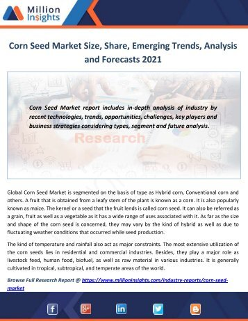 Corn Seed Market Size, Share, Emerging Trends, Analysis and Forecasts 2021