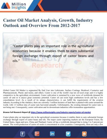 Castor Oil Market Analysis, Growth, Industry Outlook and Overview From 2012-2017