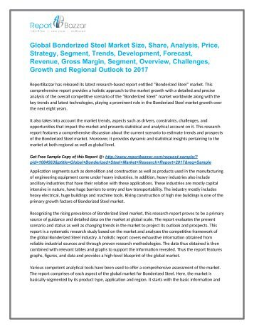 Bonderized Steel Market  - Global Industry Analysis, Size, Share, Growth and Forecast Report To 2017