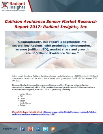Global Collision Avoidance Sensor Industry 2017 Market Research Report