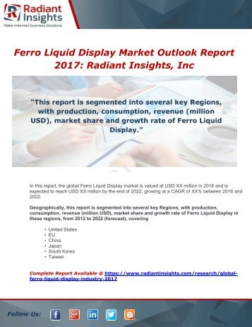 Global Ferro Liquid Display Industry 2017 Market Research Report
