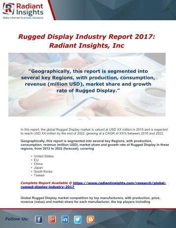 Global Rugged Display Industry 2017 Market Research Report
