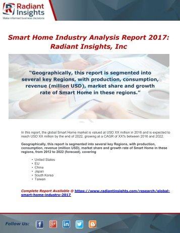 Global Smart Home Industry 2017 Market Research Report