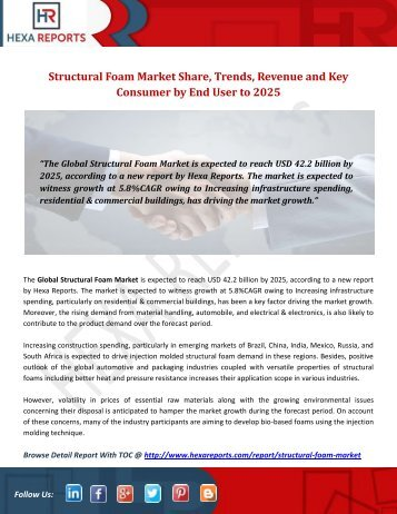 Structural Foam Market Share, Trends, Revenue and Key Consumer by End User to 2025