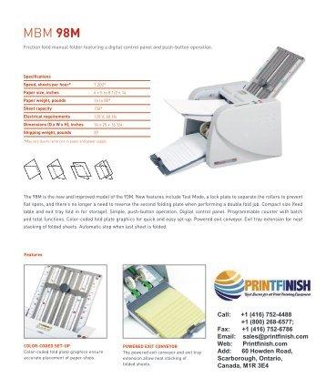 MBM 98M Manual Tabletop Paper Folding Machine - Printfinish.com