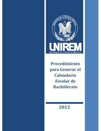 Procedimiento para Generar el Calendario Escolar de Bachillerato