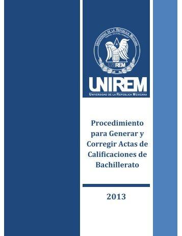 Procedimiento para Generar y Corregir Actas de Calificaciones de Bachillerato
