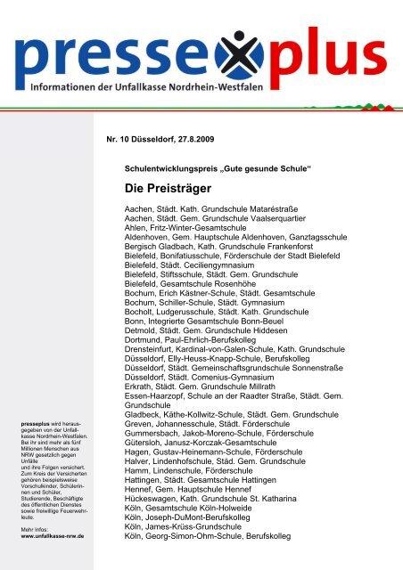Die Preisträger - Unfallkasse NRW