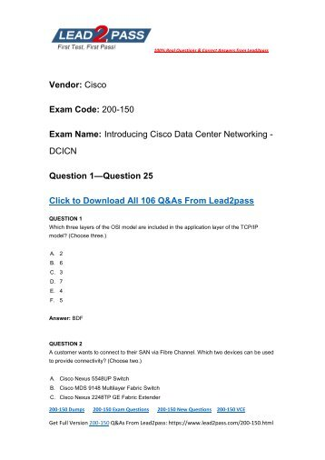[2017-Sep] Pass 200-150 Exam By Training Lead2pass New VCE And PDF Dumps (1-25)
