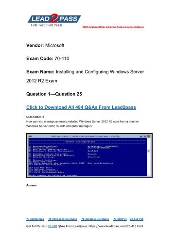 [2017-Sep] Lead2pass Offering New 70-410 Exam PDF And 70-410 Exam VCE Dumps For Free Downloading (1-25)