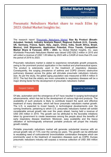 Pneumatic Nebulizers Market share to surpass $1bn by 2023