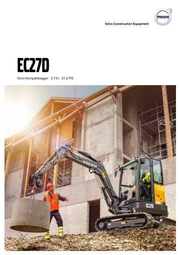Volvo Minibagger EC27C - Datenblatt / Produktbeschreibung
