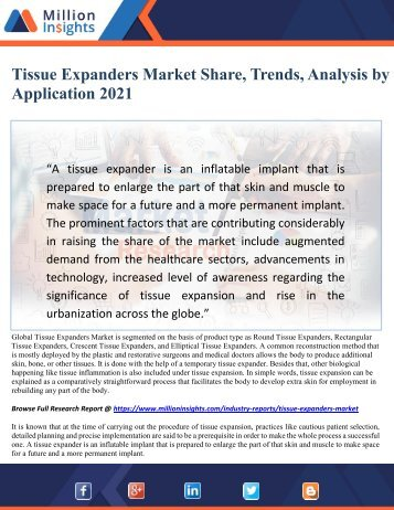 Tissue Expanders Market Share, Trends, Analysis by Application 2021