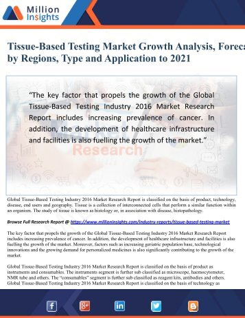 Tissue-Based Testing Market Growth Analysis, Forecast by Regions, Type and Application to 2021