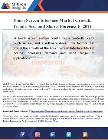Touch Screen Interface Market Growth, Trends, Size and Share, Forecast to 2021