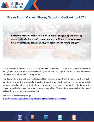 Brake Fluid Market Share, Growth, Outlook to 2021