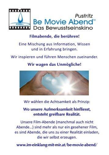 Be Movie Abende Pustritz - September - Dezember 2017