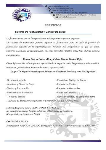 CATALOGO  de SERVICIOS D.F. SOLUCIONES INFORMATICAS INTELIGENTES