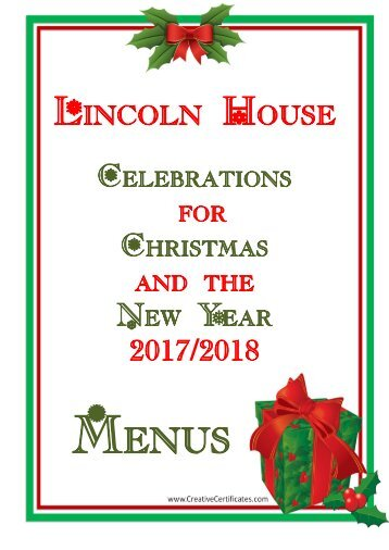 Christmas and New Year's Menu 2017 Booklet