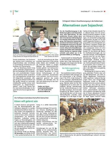 Alternativen zum Sojaschrot - Landwirtschaftskammer Schleswig ...