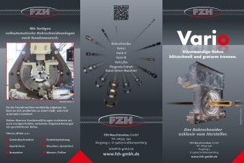 FZH-Vario-System - Dünnwandige Rohre blitzschnell und gratfrei trennen -