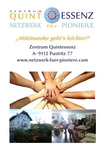 Zentrum Quintessenz, Netzwerk fuer Pioniere -Folder-Vision-Team