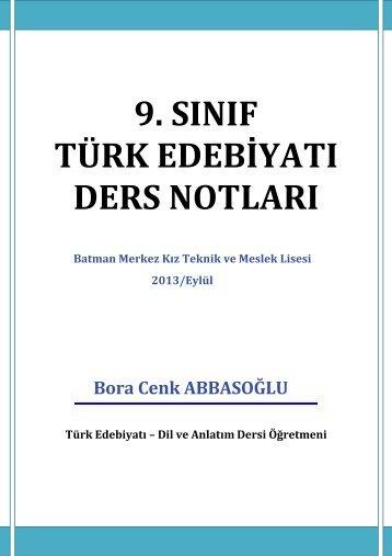 9.SINIF TÜRK EDEBİYATI DERS NOTLARI