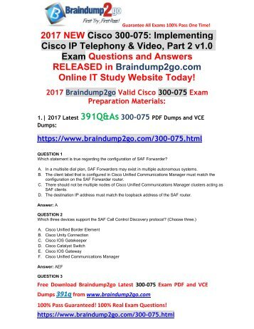 (2017-Sep-Version)New 300-075 VCE and 300-075 PDF Dumps 391Q&As Free Share(1-14)