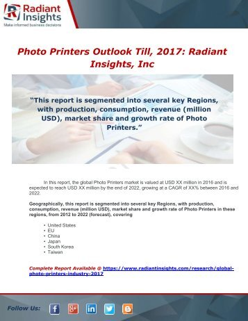 Global Photo Printers Industry 2017 Market Research Report
