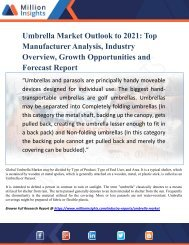 Umbrella Market Outlook to 2021- Top Manufacturer Analysis, Industry Overview, Growth Opportunities and Forecast Report