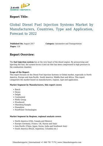 Global Diesel Fuel Injection Systems Market by Manufacturers, Countries, Type and Application, Forecast to 2022