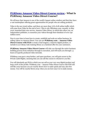 PLRDemy Amazon Video Direct Course Review - 80% Discount and $26,800 Bonus