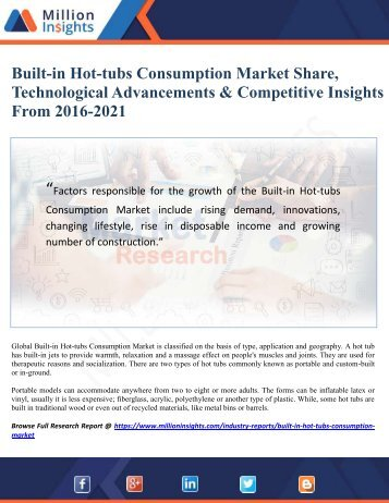 Built-in Hot-tubs Consumption Market Share, Technological Advancements & Competitive Insights From 2016-2021