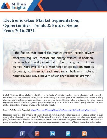 Electronic Glass Market Segmentation, Opportunities, Trends & Future Scope From 2016-2021
