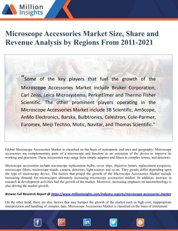 Microscope Accessories Market Size, Share and Revenue Analysis by Regions From 2011-2021