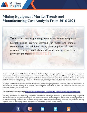 Mining Equipment Market Trends and Manufacturing Cost Analysis From 2016-2021