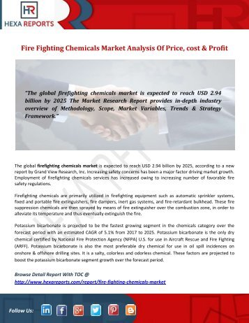 Fire Fighting Chemicals Market Analysis Of Price, cost & Profit