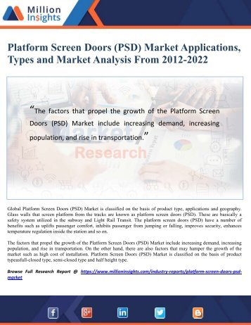 Platform Screen Doors (PSD) Market Applications, Types and Market Analysis From 2012-2022
